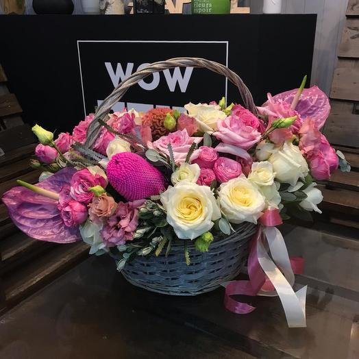 """""""Bubble Gum"""" розовая корзина: букеты цветов на заказ Flowwow"""