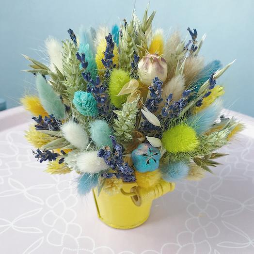"""Ведёрко с сухоцветами 2 """"Лимонное с лавандой"""": букеты цветов на заказ Flowwow"""