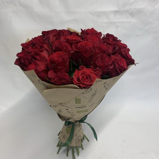 25 роз Красных Эквадор: букеты цветов на заказ Flowwow