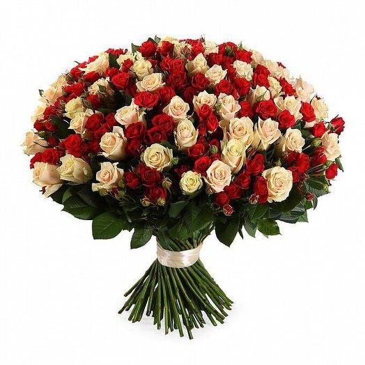Кустовые роза 101 шт: букеты цветов на заказ Flowwow