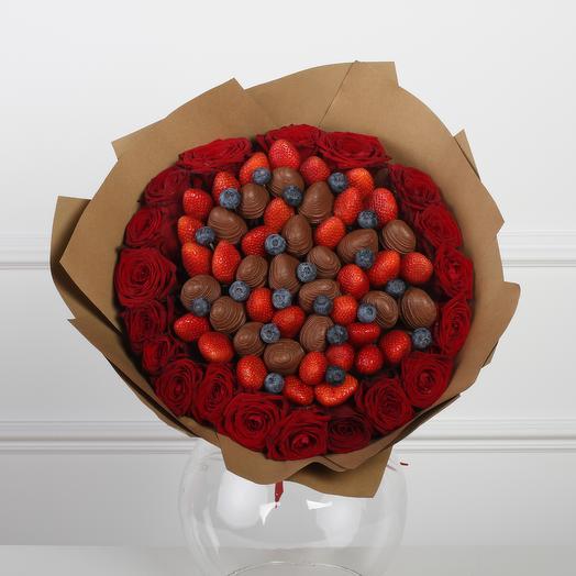 Букет из клубники «Натролис» РазмерL: букеты цветов на заказ Flowwow