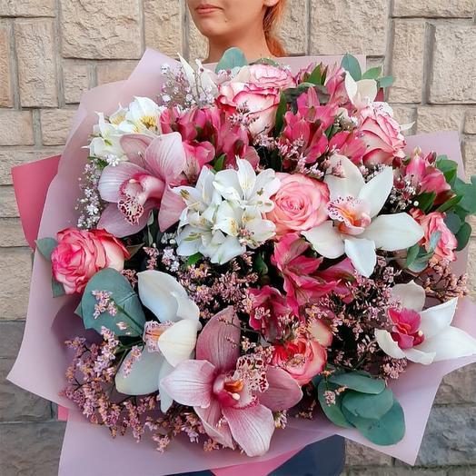 """Букет с розами и орхидеями """"Радость встречи"""""""
