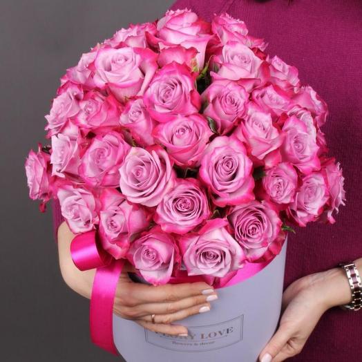 51 роза  премиум Дип Перпл Эквадор