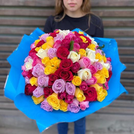 101 роза 40 см Микс
