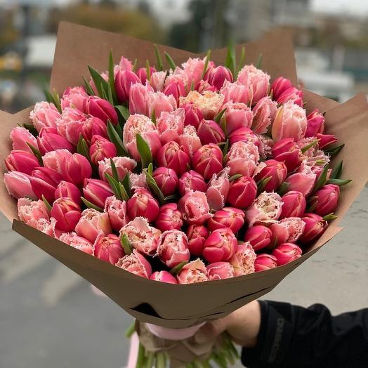 Букет из 101 пионовидного тюльпана