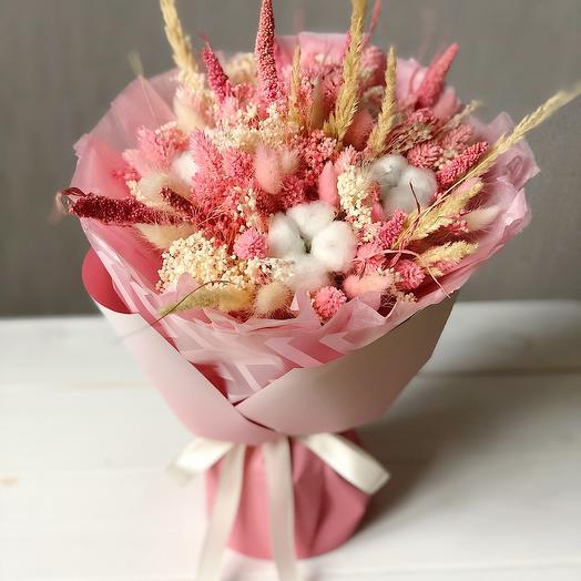 Сухоцветы Pink с хлопком