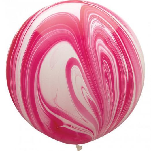 "Q Шар 30""/76 см, супер агат розовый белый"