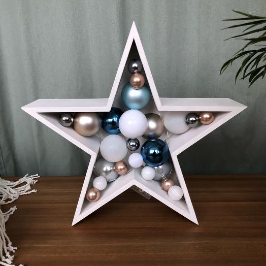 Новогодняя звезда ⭐️ малая синий серебряный белый
