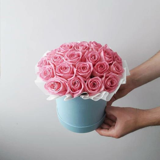"""Коробка""""25 розовых роз"""""""