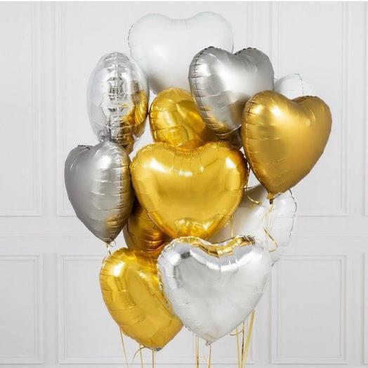 Сердца злато-серебро 12шт