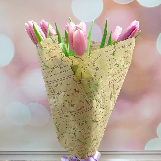 Монобукет из розовых тюльпанов