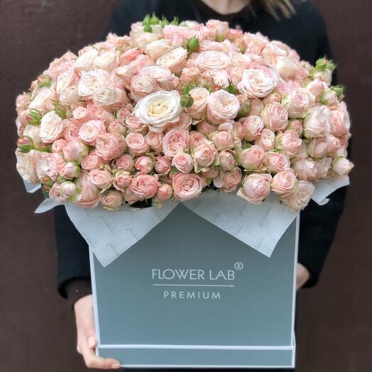 Цветы в коробке Розы кустовые Бомбастик 65 штук