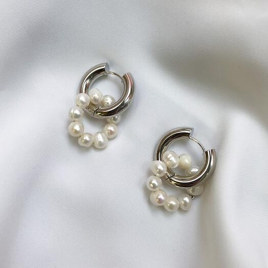 Серьги - кольца Leda hoops жемчуг - серебро