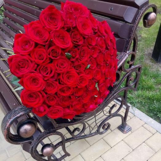 Букет из 65 красных роз 70 см: букеты цветов на заказ Flowwow