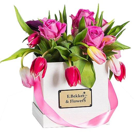 Акварель (в квадратной коробке 15*15): букеты цветов на заказ Flowwow