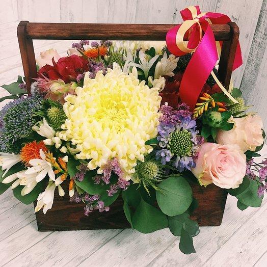 Осенняя композиция в ящике : букеты цветов на заказ Flowwow