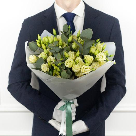 Букет из эустомы и эвкалипта: букеты цветов на заказ Flowwow