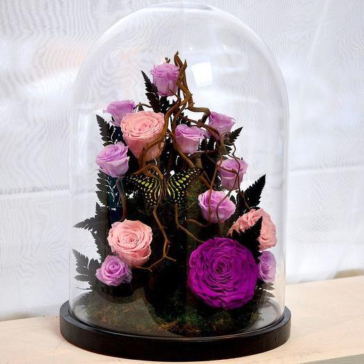 """КОМПОЗИЦИЯ """"БЭЛЛЬ"""" РОЗЫ СТАБИЛИЗИРОВАННЫЕ: букеты цветов на заказ Flowwow"""