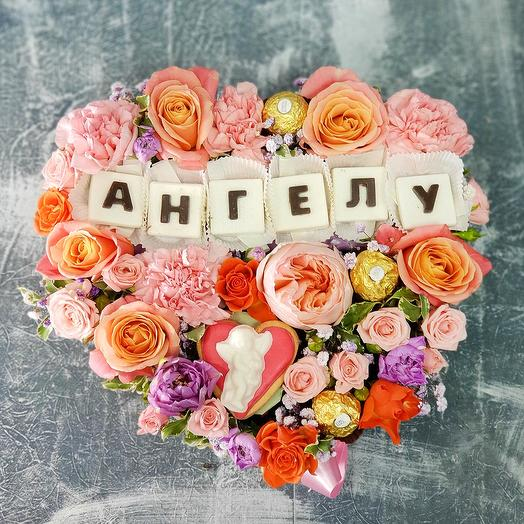 """Нежное сердце """"Моему Ангелу"""": букеты цветов на заказ Flowwow"""