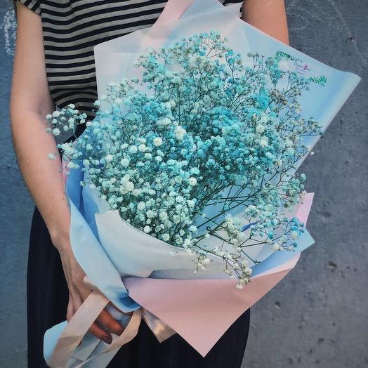 """БУКЕТ ИЗ ГИПСОФИЛЫ """"ГОЛУБАЯ ЛАГУНА"""": букеты цветов на заказ Flowwow"""