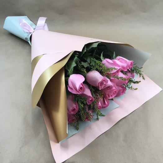 Букет романтика из 15 нежно розовых роз 60 см: букеты цветов на заказ Flowwow