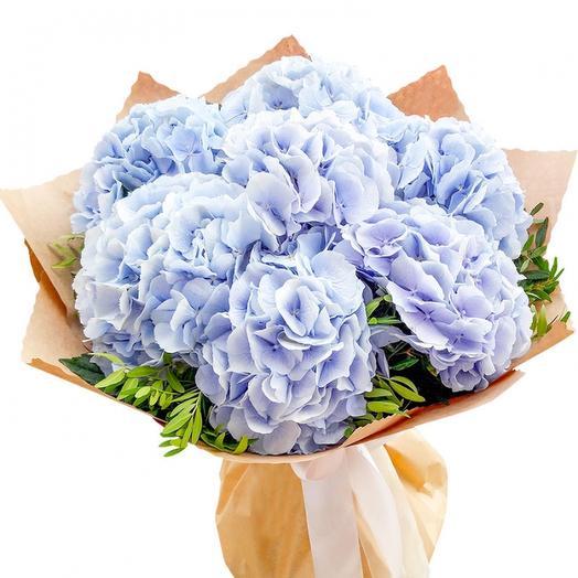 Букет из 7 голубых гортензий: букеты цветов на заказ Flowwow