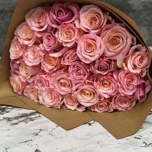 Российские розы 51 шт: букеты цветов на заказ Flowwow