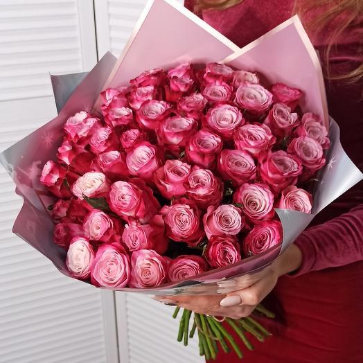 51 роза Diamant: букеты цветов на заказ Flowwow
