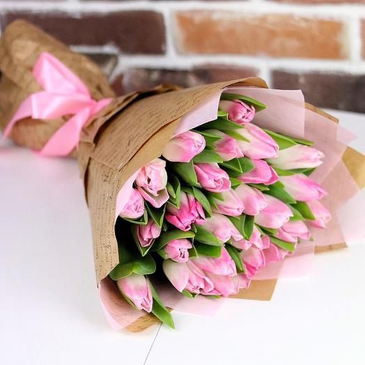 Букет из 25 розовых тюльпанов. N686