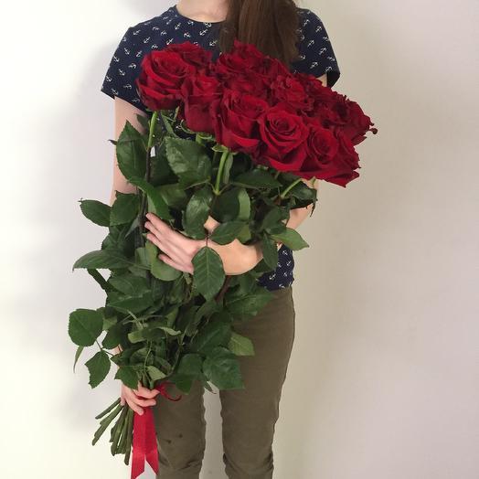 Lady Flowers - 25 бордовых роз 70 см