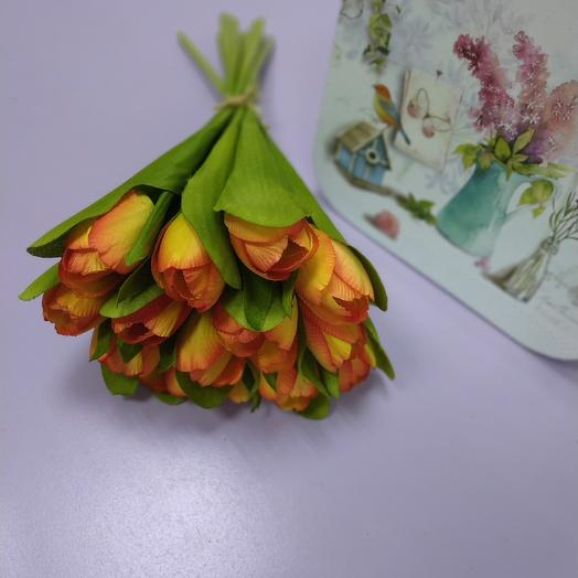 A bouquet of artificial tulips