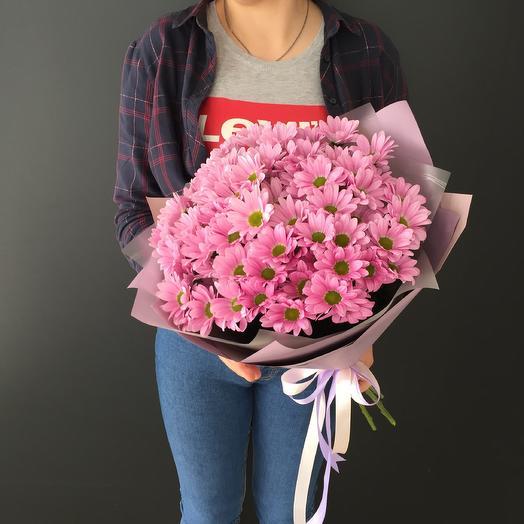 Букет из 7 розовых ромашковых хризантем