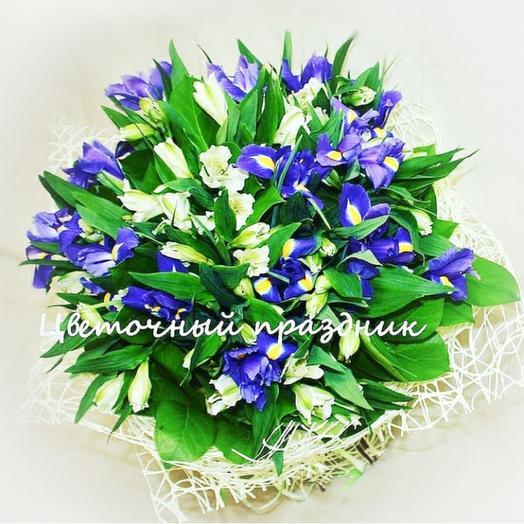 Букет с ирисами и альстромерией: букеты цветов на заказ Flowwow