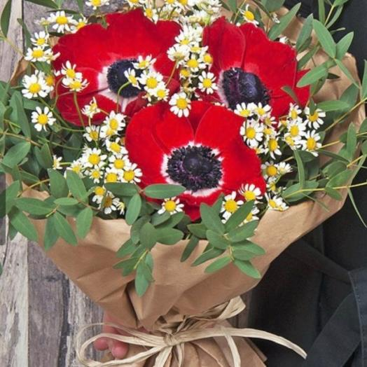 Букет анемоны и ромашка: букеты цветов на заказ Flowwow