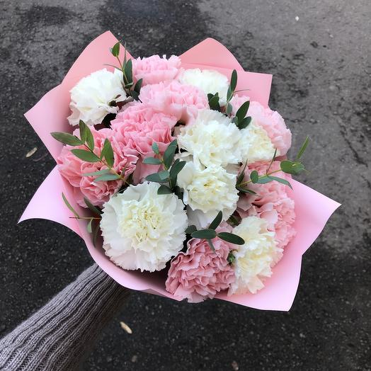 Bouquet of carnations and herbs
