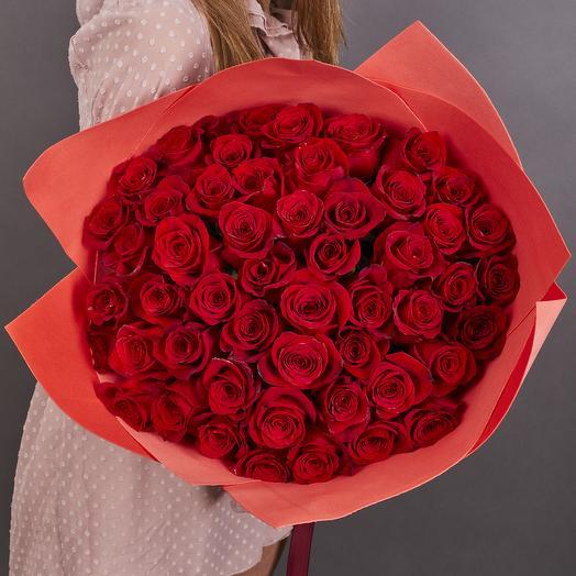 51 высокая красная роза 60 см. VIP