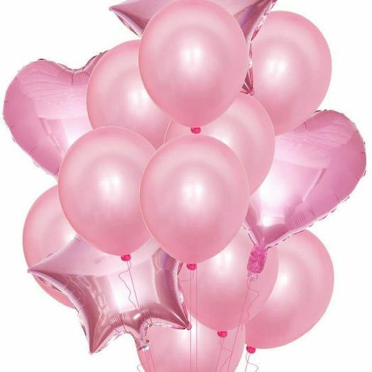 Фонтан из шаров розовый