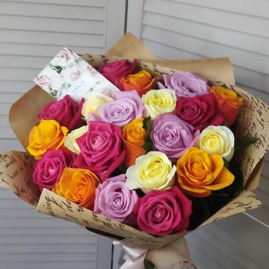 Букет Микс с розами 21 шт