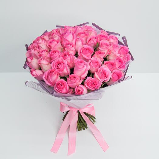 Букет 51 розовых роз (40см)