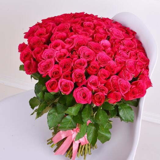 Монобукет 51 Розовая роза 60см
