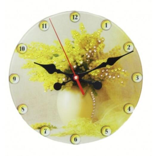 """Часы настенные """"Букет Мимозы"""" с кристаллами Swarovski"""