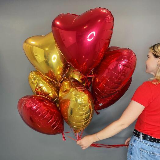 9 фольгированных сердец