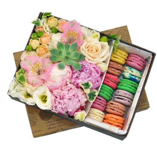 Коробка Макаруни: букеты цветов на заказ Flowwow
