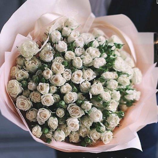 Букет из кустовых Пастельных роз: букеты цветов на заказ Flowwow