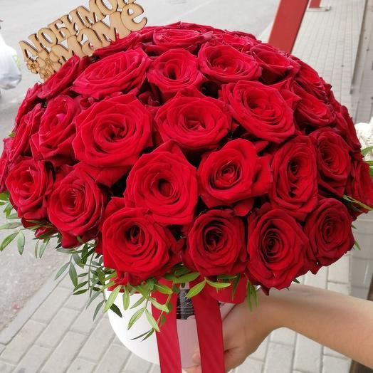 Цветы в шляпной коробке 35 роз: букеты цветов на заказ Flowwow