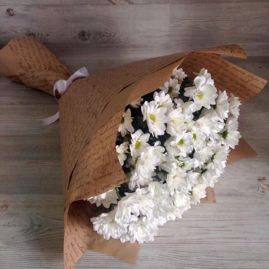 15 Хризантем в крафте: букеты цветов на заказ Flowwow