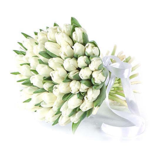 49 белоснежных тюльпанов: букеты цветов на заказ Flowwow