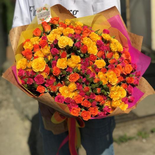 Букет кустовая роза 40 см 39 веточек. N293: букеты цветов на заказ Flowwow