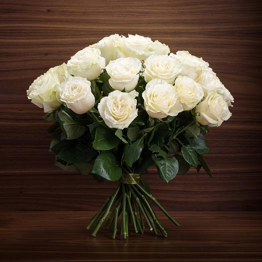 Bouquet of 21 white holland roses 60 cm: flowers to order Flowwow