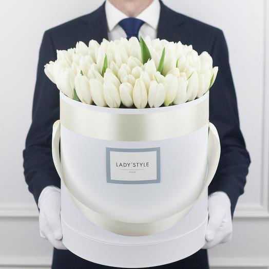 Голландские тюльпаны в шляпной коробке XL: букеты цветов на заказ Flowwow